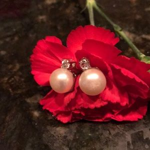 Lg faux pearl and cz earrings stunning!
